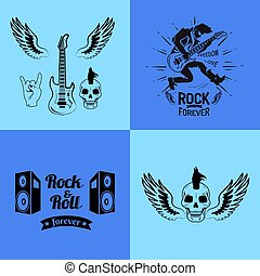 Rock'n'roll forever freedom and love, set of icons of guitar with wings, skull and horns, loudspeakers and ribbon vector illustration