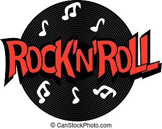 Rock'n'roll lettering with vinyl. Vector Illustration of Rock n roll symbol.