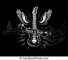 Rock'n'roll music style, guitar with wings monochrome sketch outline vector. Winged musical instrument, jazz rock sounds. Notes on sheet, tablature