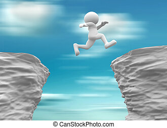 Rocks - 3d people- human character jumping over a chasm. 3d...