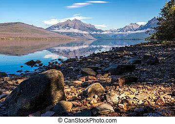 Rocks along the shore of Lake McDonald