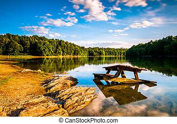 Rocks and a picnic table in Lake Marburg, at Codorus State...