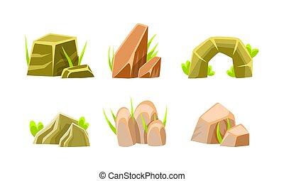 Rocks and Boulders of Various Shapes Set, Mobile Game Nature Landscape Design Elements Cartoon Vector Illustration