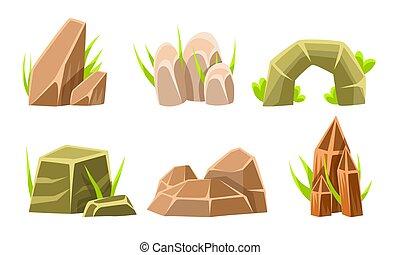 Rocks And Boulders With Grass Set, Summer Landscape Elements Vector Illustration