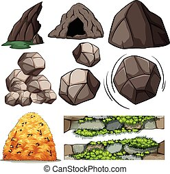 Rocks and cave - Different design of cave and rocks