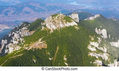Rocks and forest summer landscape, aerial view of summer...