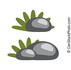 Rocks and Grass Collection Vector Illustration