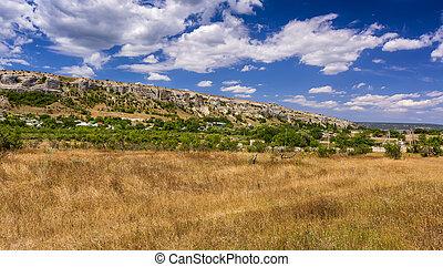 Rocks and grass of Crimean peninsula.