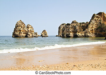 Rocks and ocean near Lagos in Portugal