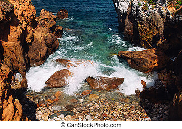 Rocks and ocean waves at Portugal