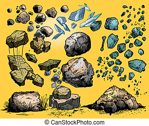 rocks and stones - flying rocks and stones