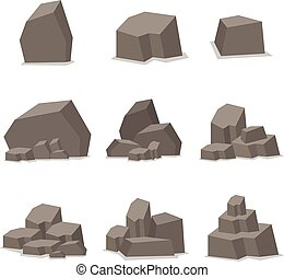 Rocks and stones set element vector