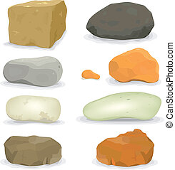 Illustration of a set of various cartoon styled rocks and other boulders, ore and minerals