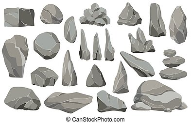 Rocks and stones single or piled for damage and rubble. Large and small stones. Set of flat design icons. Vector illustration for game art architecture design.