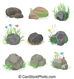 Rocks and stones with grass, flowers and butterfly collection set. Vector illustration.