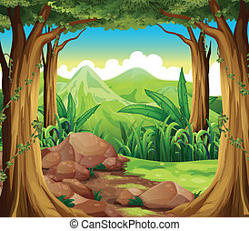 Rocks at the forest - Illustration of the rocks at the ...
