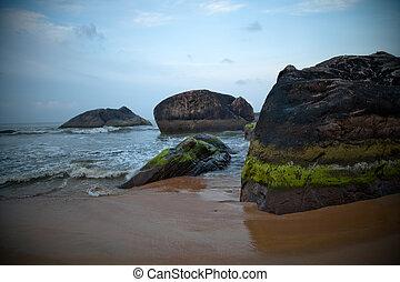 Rocks by beach