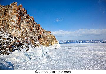 Rocks over winter siberian Baikail lake