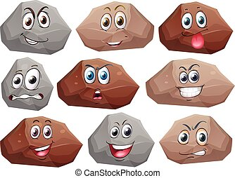 Rocks - Illustration of rocks with facial expressions