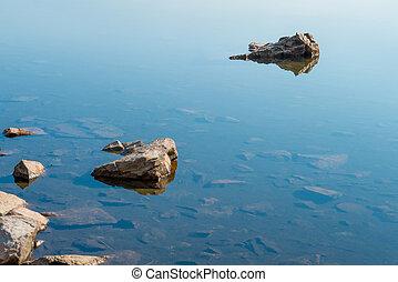 Rocks in blue calm water