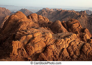 Rocks in early morning - Panorama rocks of Mount Sinai in...