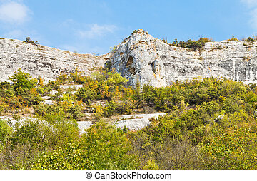 rocks in gorge mariam-dere in Crimean mountains in autumn