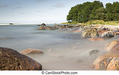 Rocks in Ocean with Trees