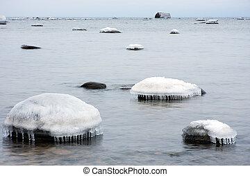 Rocks in sea under ice cap