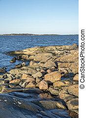 Rocks in Sillvik in Sweden in winter