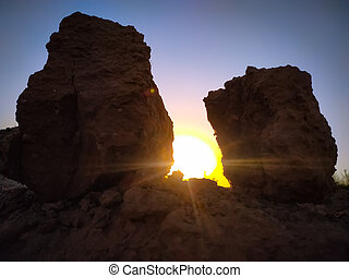 Rocks in the sunset