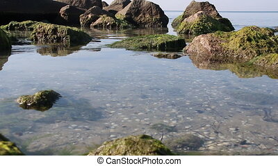 Rocks in the water, rocky shore by the sea