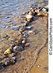 Rocks in water at the shore of Georgian Bay, Canada. Awenda ...