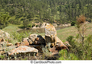 Rocks in Wyoming - Group of Rock Clusters Said to be Indian...