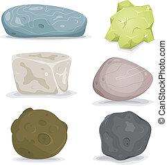 Rocks, Minerals And Stones Set - Illustration of a set of...