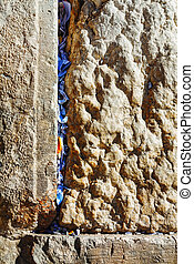 Rocks of the Wailing wall close up in Jerusalem