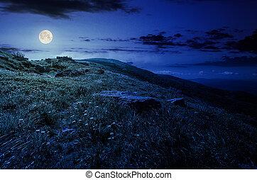 rocks on grassy hillside of the mountain at night in full...