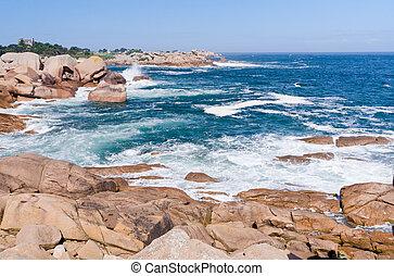 rocks on Pink Granite Coast in France
