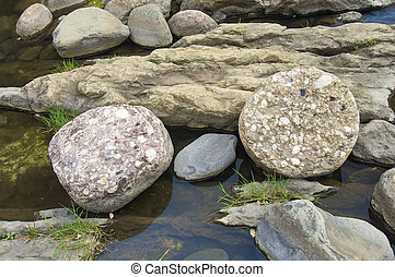 rocks on the banks of a river