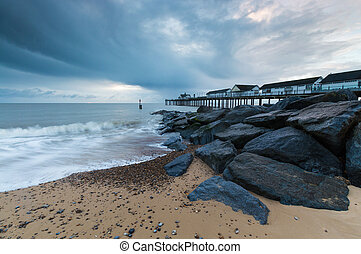Rocks on the Beach at Southwold Pier