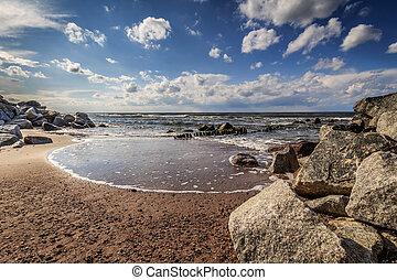 Rocks on the beach in Niechorze