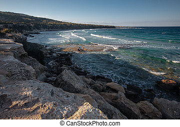 Rocks on the coast of sea on the Cyprus near Paphos