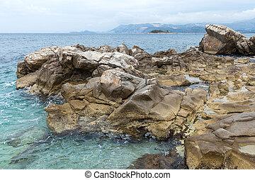 Rocks on the shore in Cavtat, Dubrovnik