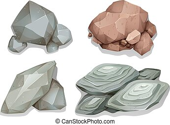 Rocks - Set of different pattern rocks on white background