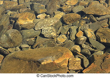 rocks under the clear water of the