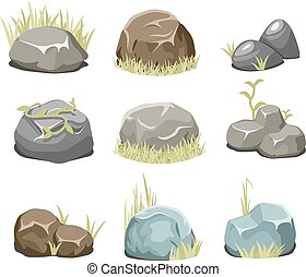 Rocks with grass, stones and green grass on white - Rocks...