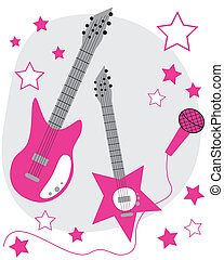 Rockstar - Hot pink rockstar guitars and microphone
