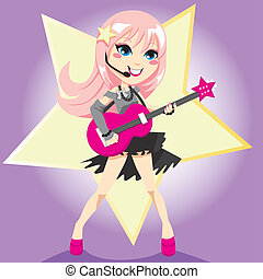 Rockstar Girl - Rock star girl with pink hair playing...