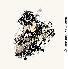 Rockstar guy playing guitar, vector illustration.