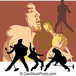 rockstar illustration on the brown elvis background
