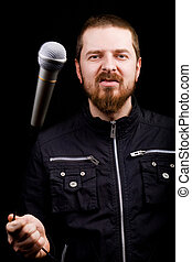 rockstar, macho, músico, tocando, com, microfone